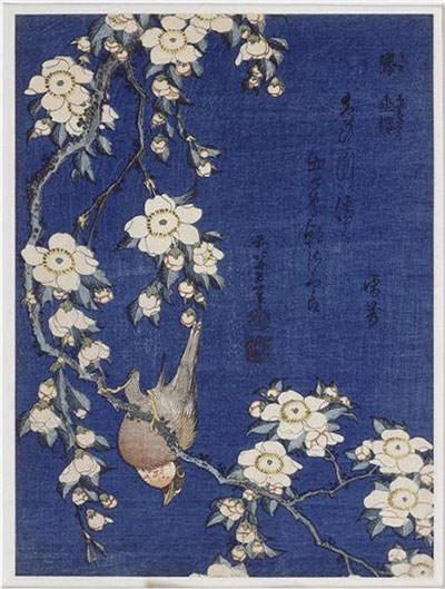 Bullfinch And Weeping Cherry Blossoms (1834) – Katsushika Hokusai