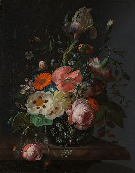 Still Life with Flowers on a Marble Slab (1716) – Rachel Ruysch